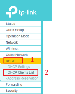 DHCP Clients List